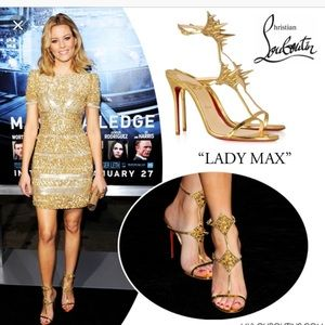 Auth Christian Louboutin Lady Max Gold Stud Heels